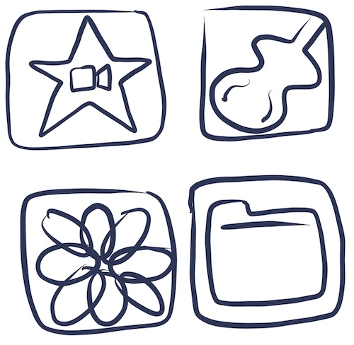 The app icons for iMovie, GarageBand, Photos and Files