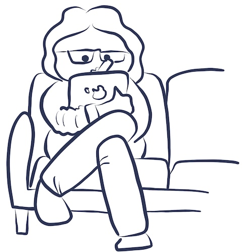 Illustration of a woman sitting on a couch holding an iPad and drawing