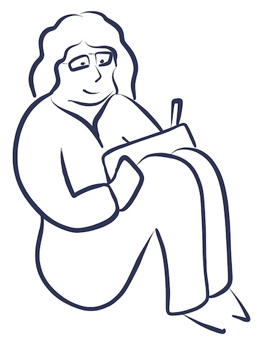 Illustration of a woman curled up in bed drawing