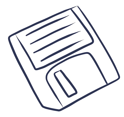 An illustration of a floppy disk