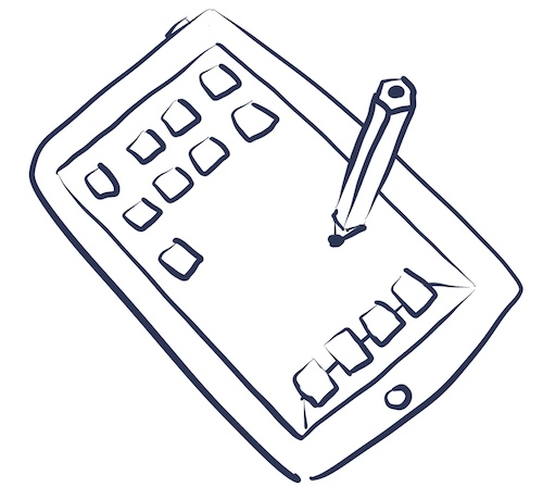 Illustration of the iPad 1 with a stylus