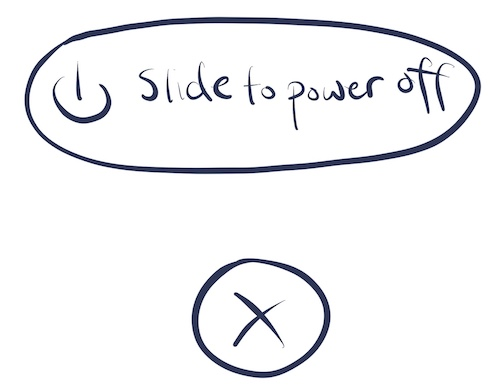 "An illustration of the ""Slide to power off"" screen"