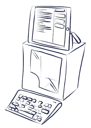 Illustration of an iPad on top of a cardboard box with a keyboard in front of it, setup like an old desktop PC