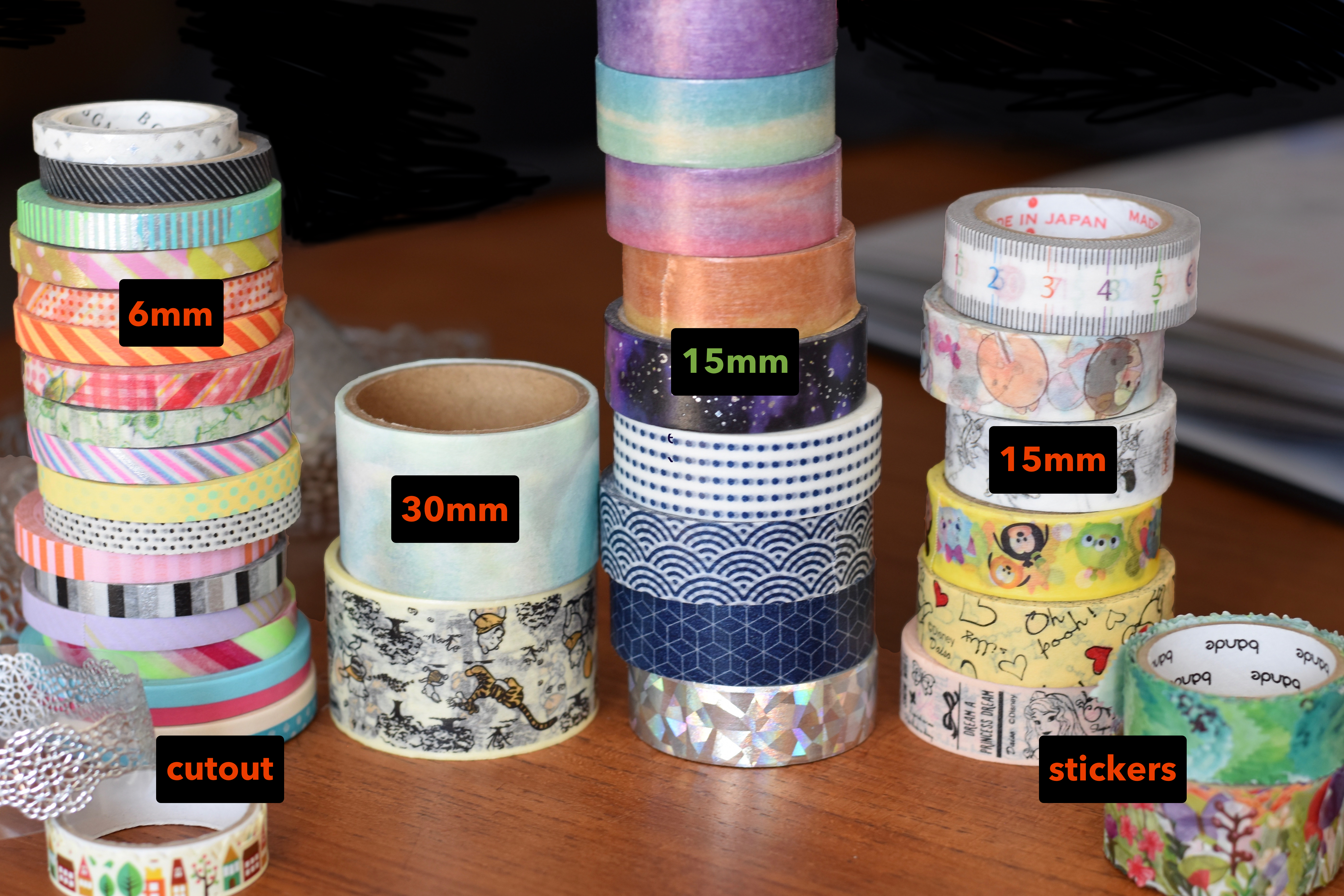 Different kinds of washi tape. Cutout tape, 6mm wide tape, 30mm wide tape, 15mm wide tape with simple designs, 15mm wide tape with complex designs, washi tape stickers